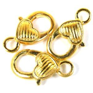 Карабин для брелка сердце в полосочку, золото, 25 мм