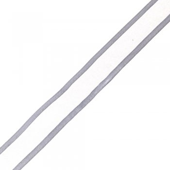 Стрічка з органзи з атласними краями 25 мм сріблястий