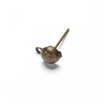 Основа для серег гвоздик со шляпкой бронзовая