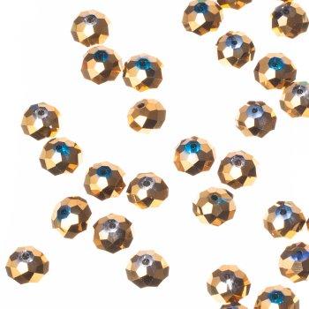 Намистина кругла сплюснута, золотиста металік, кришталь, 12 мм