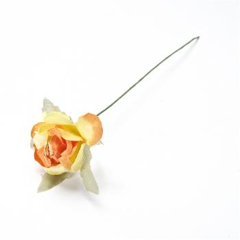 Штучна квітка. Троянда. Жовто-помаранчева