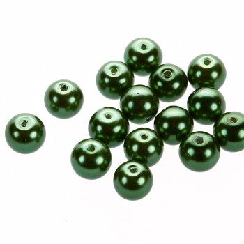 Жемчуг стеклянный гладкий тёмно-зеленый