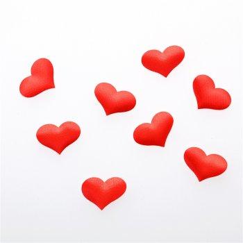 Серце. Текстильний дутий елемент, червоний, 22х15 мм