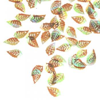 Пайетки листики, коричнево-зеленые, 19х10 мм