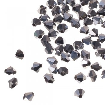 Намистина двоконічна, чорна срібляста металік, кришталь, 8 мм