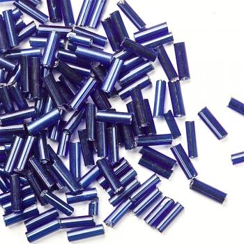 Бісер-стеклярус темно-синій 6 мм