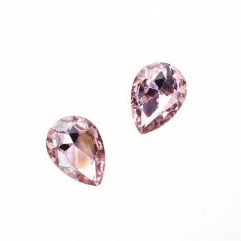 Стразы стеклянные вставные. Розовый. Длина 18 мм, ширина 13 мм.