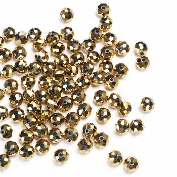 Хрустальная бусина рондель 8 мм золотистая металлик