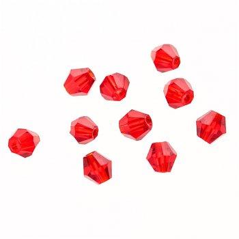 Намистина двуконічна, червона, кришталь, 4 мм
