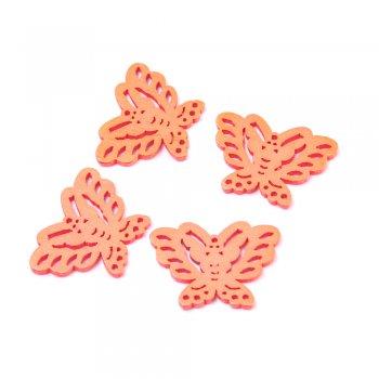 Подвески деревянные. Бабочка неоново-оранжевая. Размер 20 * 27 мм.