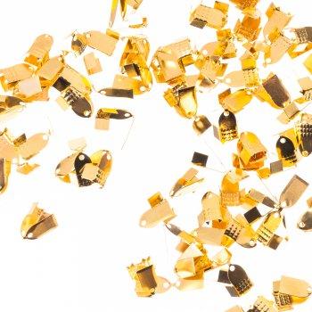 Затискачі для основ. Золотий. Довжина 10 мм, ширина 6 мм.