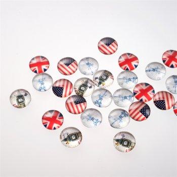 Кабошони скляні круглі, мікс, 15 мм
