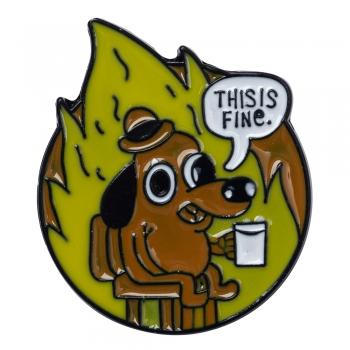 Значок пін собака This is fine