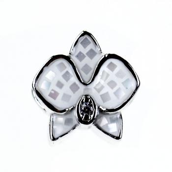 Металева намистина шарм LUX Квітка біла