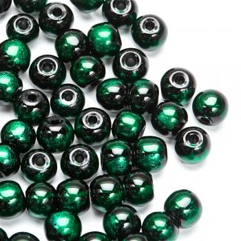 Намистина скляна під мармур 8 мм зелено-чорна