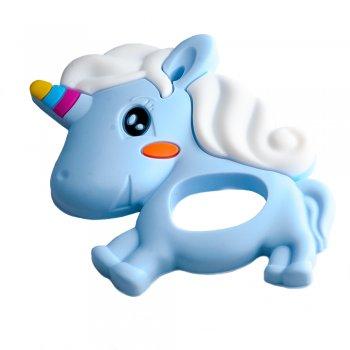 Силиконовая подвеска Единорог голубой
