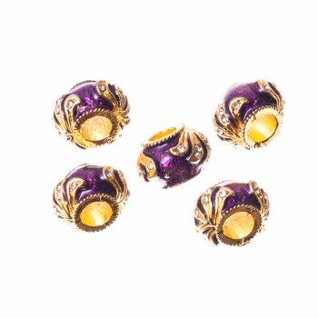 Металлическая бусина  шарм с эмалью фиолетовый золото