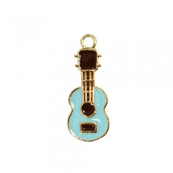 Металлическая подвеска с эмалью Гитара голубая