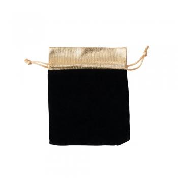 Декоративний мішечок оксамитовий 15х12 см чорно-золотий