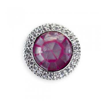 Металлическая бусина шарм LUX круглая розовая