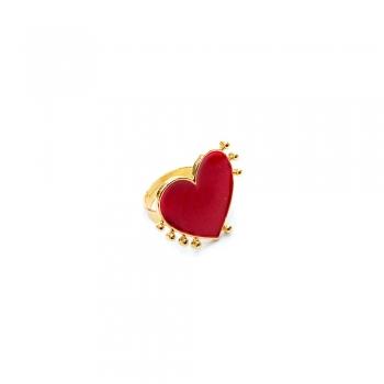 Металлическое кольцо Сердце алое
