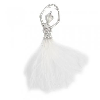 Брошка Балерина з білим пір'ям