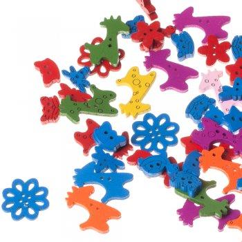 Квітка маленька, ґудзик дерев'яний, синій, 14х14 мм
