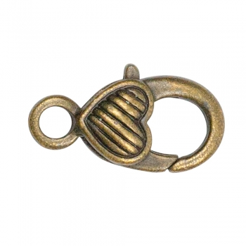 Карабин для брелка сердце в полосочку 25 мм бронзовый