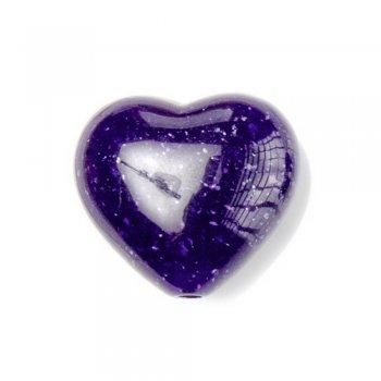 Серце. Пластик під камінь. Синій. Мікс розмірів.
