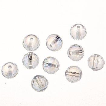 Намистина кругла, прозора з райдужним ефектом, кришталь, 8 мм