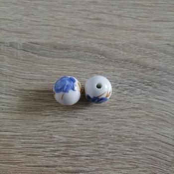 Намистина керамічна глазурована. Синя троянда