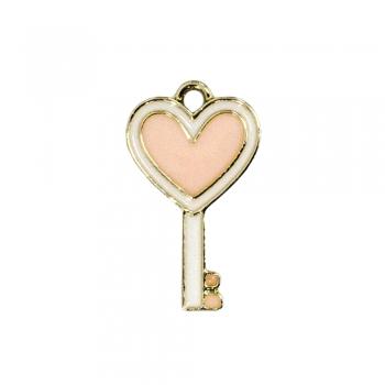 Металлическая подвеска с эмалью Ключ с сердцем розовая