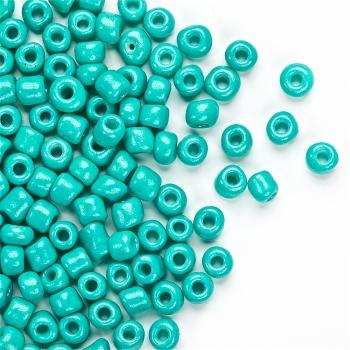Бісер круглий, великий, зеленувато-бірюзовий. Калібр 6 (3,6 мм)