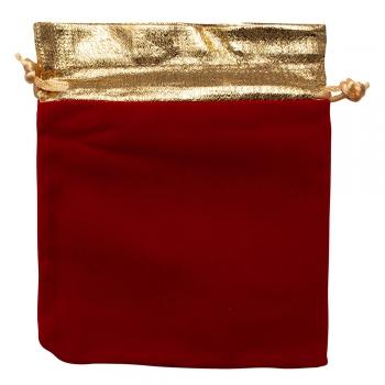 Декоративний мішечок оксамитовий 15х12 см червоно-золотий