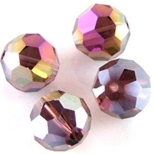 Хрустальная бусина круглая 10 мм фиолетовая радужная