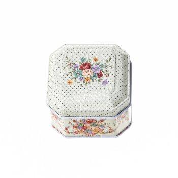 Коробочка бляшана 6,5х6,5х4,5 см квіти