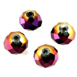 Хрустальная бусина рондель 8 мм фиолетовая бензольная
