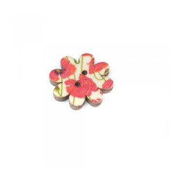 Гудзик дерев'яний маленька квітка