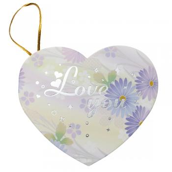 Листівка Валентинка серце рожева 90х80мм