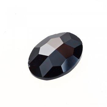 Стразы стеклянные вставные. Черный. Длина 25 мм, ширина 18 мм.