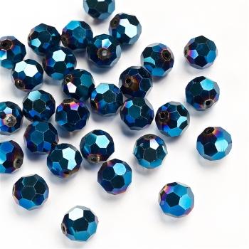 Кришталева намистина кругла 12 мм синя бензолова