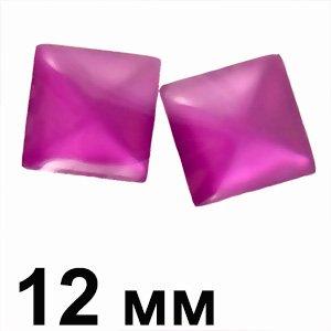 Пластикові кабошони рожевий опуклий квадрат 12 мм