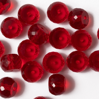 Хрустальная бусина рондель 12 мм красная