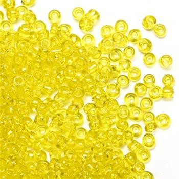 Бісер круглий, невеликий, жовтий прозорий. Калібр 12 (1,8 мм)