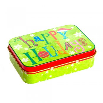 "Коробочка жестяная 10,5,х7х3 см ""Happy holidays"""