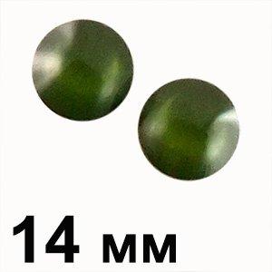 Пластикові кабошони 14 мм зелений круг