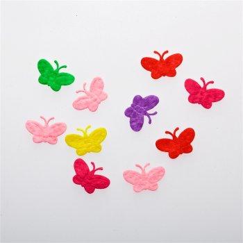 Бабочки. Текстильные дутые элементы, микс цветов, 23х15 мм