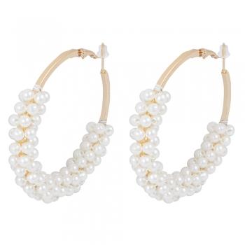 Сережки кільця з перлами золоті
