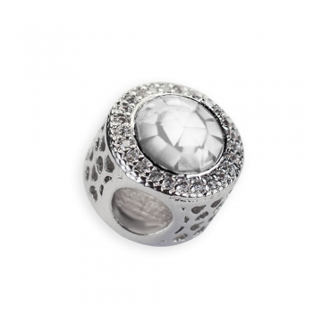 Металева намистина шарм LUX кругла біла