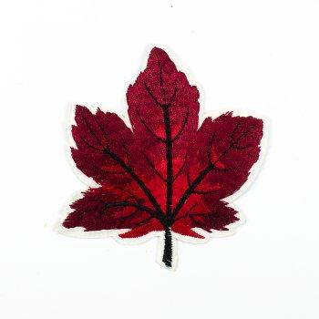 Тканинна нашивка Осінній лист червоний